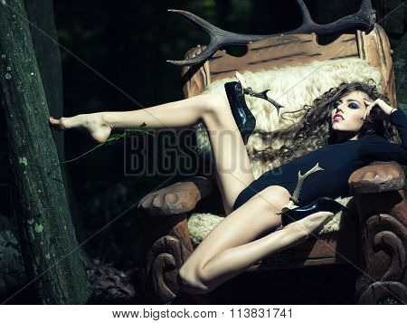 Sexy Woman With Antlers On Shoes