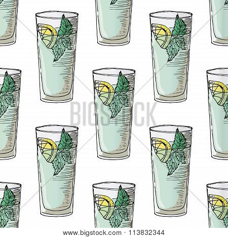 Painted Illustration With Drinks. A Glass Of Mohito. Seamless Pattern.