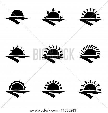 Vector Black Sunrise Icon Set