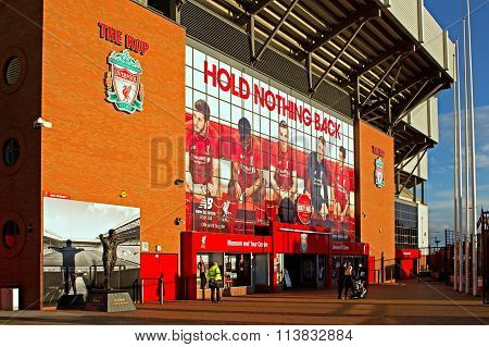 Liverpool Uk January 8Th 2016. The Kop Entrance To Liverpool Football Club Stadium. Liverpool Uk.