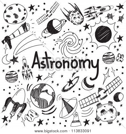 Astronomy Science Theory And Drawing Doodle Handwriting Icon Of Star Planet And Space Transportation