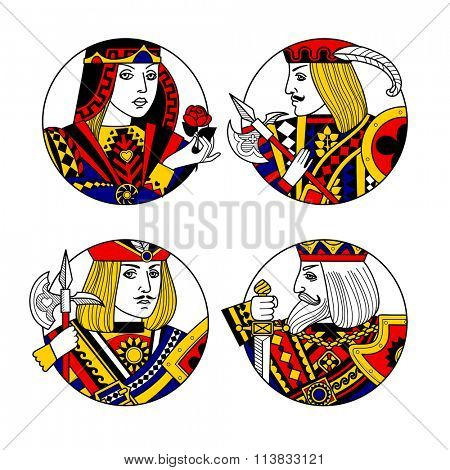 Round shapes with faces of playing cards characters. Original vintage design