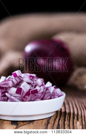 Portion Of Diced Red Onions