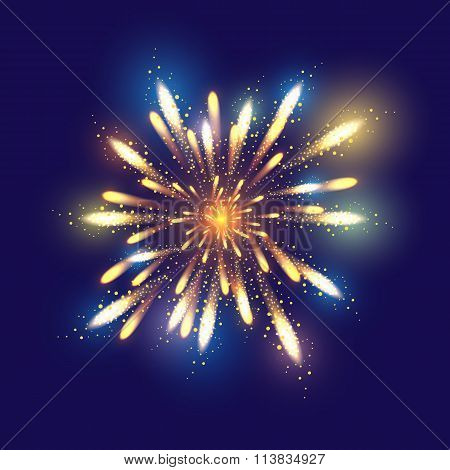 Fireworks illustration, dark background with firework show