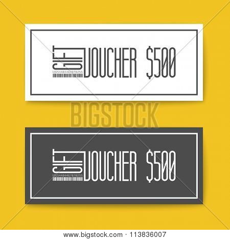Set of gift (discount) voucher cards - black and white minimalistic version