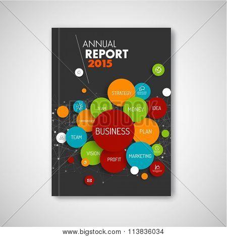 Modern Vector abstract brochure / report design business template - dark version