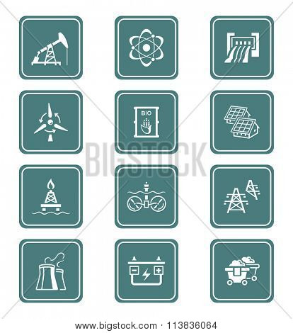 Energy, power and electricity icon-set