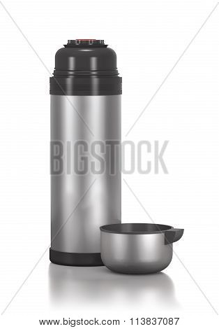 Stainless Steel Thermos For Drinks And Cup.