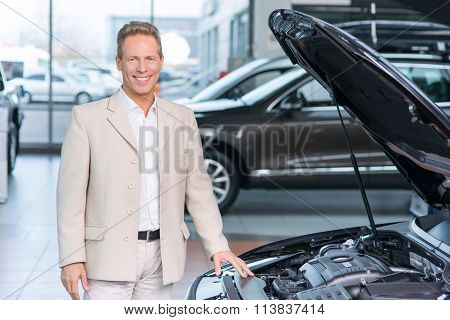 Sale assistant working in auto salon