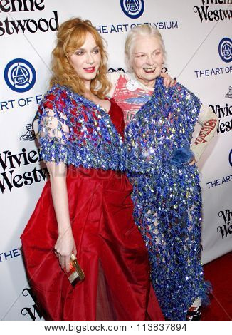 Vivienne Westwood and Christina Hendricks at the Art Of Elysium's 9th Annual Heaven Gala held at the 3LABS in Culver City, USA on January 9, 2016.