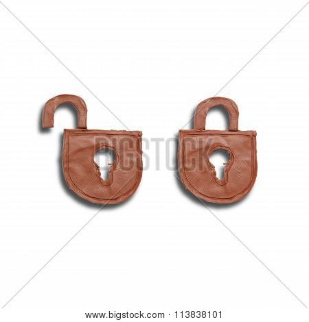 Brown locks icons on white background made of clay
