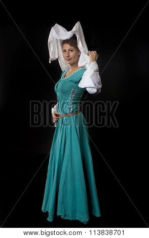 Young Attractive Medieval Woman Oer Black