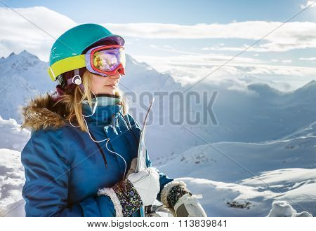 Snowboarder Woman In The Mountains Elbrus