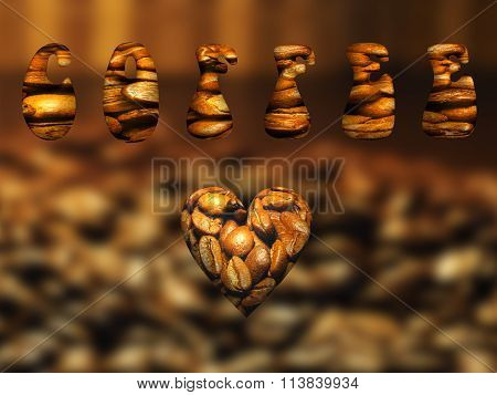Caption COFFEE. Heart from coffee beans