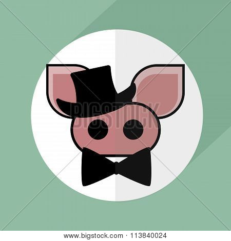 bacon pig pork hat and bow tie. vector icon restaurant .