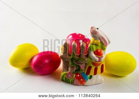 Easter Bunny And Colored Easter Eggs