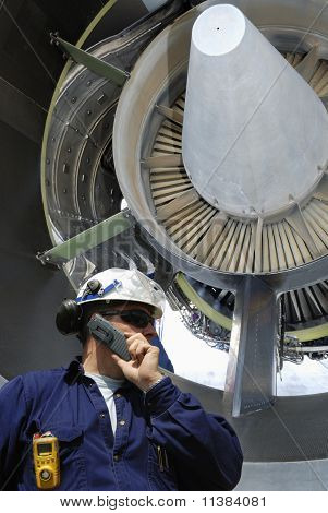 mechanic with jet-engine