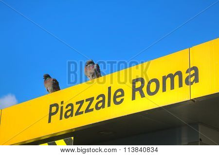 Piazzale Roma Water Bus Stop Sign In Venice