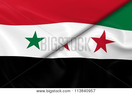 Syrian Crisis Concept Image - Flags Of The Syrian Government And The Syrian Opposition Divided Diago