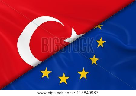 Flags Of Turkey And The European Union Divided Diagonally - 3D Render Of The Turkish Flag And Eu Fla