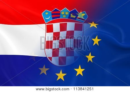 Croatian And European Relations Concept Image - Flags Of Croatia And The European Union Fading Tog