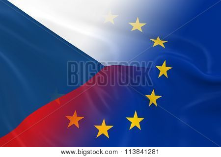 Czech And European Relations Concept Image - Flags Of The Czech Republic And The European Union Fadi