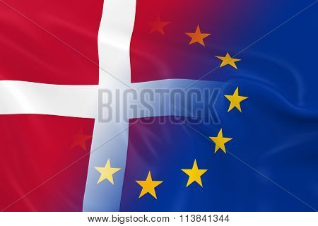Danish And European Relations Concept Image - Flags Of Denmark And The European Union Fading Togethe