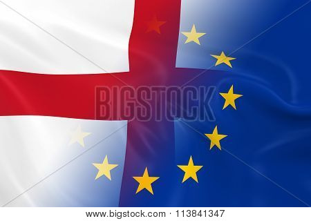 English And European Relations Concept Image - Flags Of England And The European Union Fading Togeth