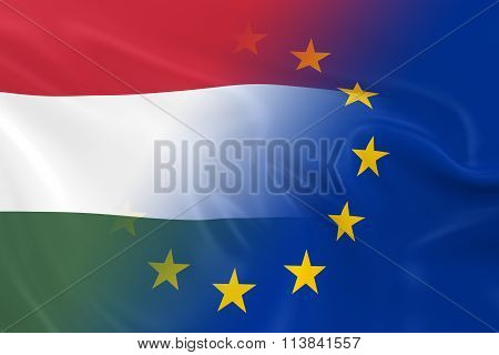 Hungarian And European Relations Concept Image - Flags Of Hungary And The European Union Fading Toge
