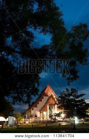 Twilight Scene Of Wat Mongkhon Bophit In Ayutthaya Historical Of Thailand.