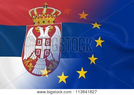 Serbian And European Relations Concept Image - Flags Of Serbia And The European Union Fading Togethe