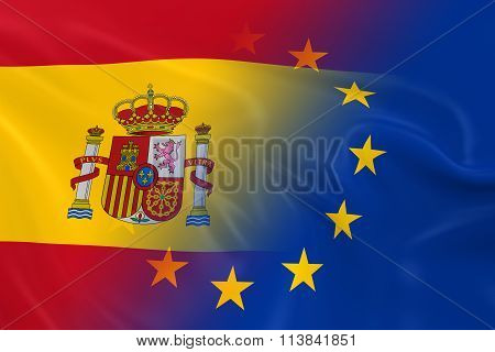 Spanish And European Relations Concept Image - Flags Of Spain And The European Union Fading Together