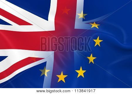 British And European Relations Concept Image - Flags Of The Uk And The European Union Fading Togethe