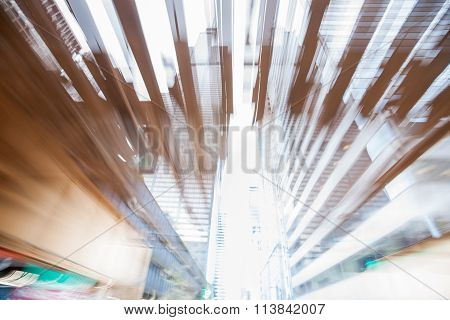 Abstract High-rise Architecture Street Of Skyscrapers In Zoom Blur