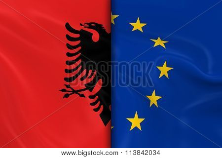Flags Of Albania And The European Union Split Down The Middle - 3D Render Of The Albanian Flag And E