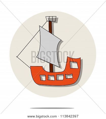 Illustration Of Red Pirate Ship