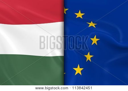 Flags Of Hungary And The European Union Split Down The Middle - 3D Render Of The Hungarian Flag And