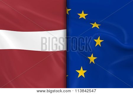 Flags Of Latvia And The European Union Split Down The Middle - 3D Render Of The Latvian Flag And Eu