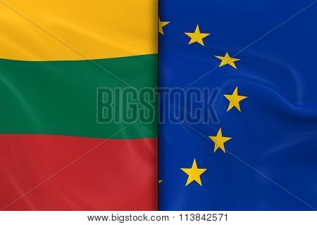Flags Of Lithuania And The European Union Split Down The Middle - 3D Render Of The Lithuanian Flag A