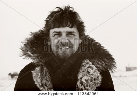 portrait of soviet gold-prospector taken in tundra on Chukchi Peninsula in 1979
