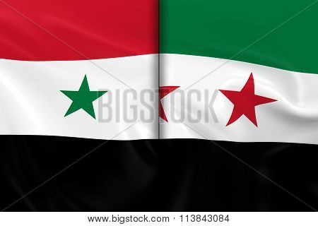 Syrian Crisis Concept Image - Flags Of The Syrian Government And The Syrian Opposition Split Down Th