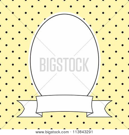 Vector frame with black polka dots on yellow background