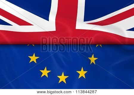 Flags Of The United Kingdom And The European Union Split In Half - 3D Render Of The Uk Flag And Eu F