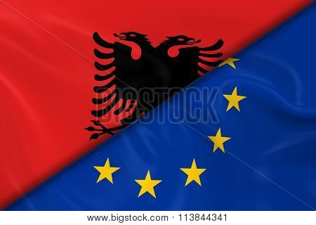 Flags Of Albania And The European Union Divided Diagonally - 3D Render Of The Albanian Flag And Eu F