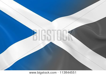 National Decline Concept - Flag of Scotland Fading into Black and White - 3D Illustration
