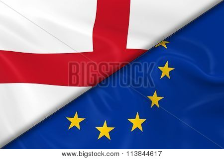 Flags Of England And The European Union Divided Diagonally - 3D Render Of The English Flag And Eu Fl