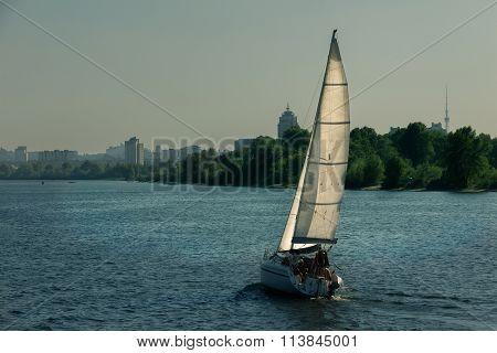 sailboat sailing in Dnieper river, Ukraine