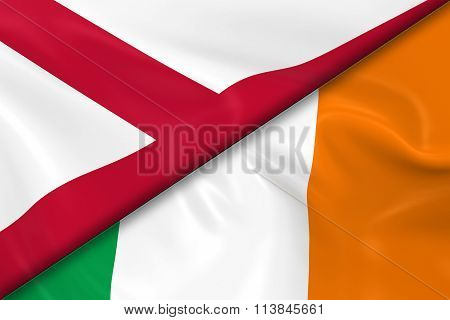 Flags Of Northern Ireland And Ireland Divided Diagonally - 3D Render Of The Northern Irish Flag And