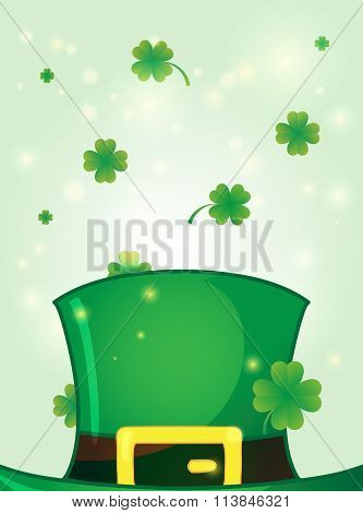 Leprechaun Green Hat With Clover Around.