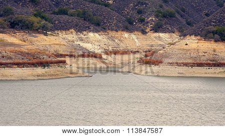 Low Water Levels At Lake Cachuma Due To Severe California Drought